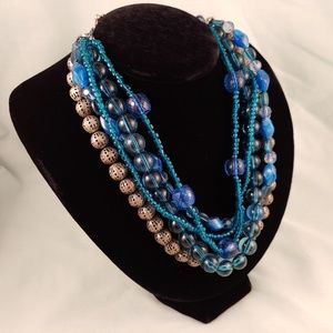 Multi-Strand Layered Beaded Necklace Blue Silver